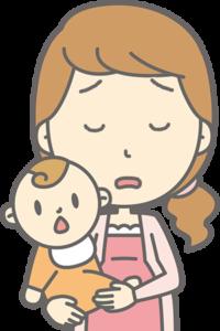 赤ちゃんを抱いて溜息をつく女性